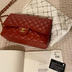 Chanel double flap lambskin in Rouge from 2015